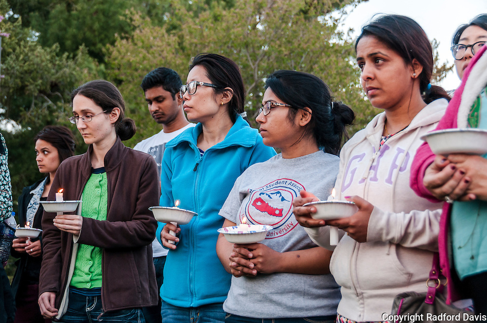 ISU Nepal Student Association candlelight vigil for those affected by the earthquake.