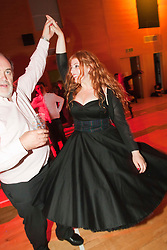 Lydia Rose Bewley, star of The Inbetweeners Movie, dances at a Ceilidh after a sold-out screening of the new film in the island's Gaelic college..© pic : Michael Schofield.