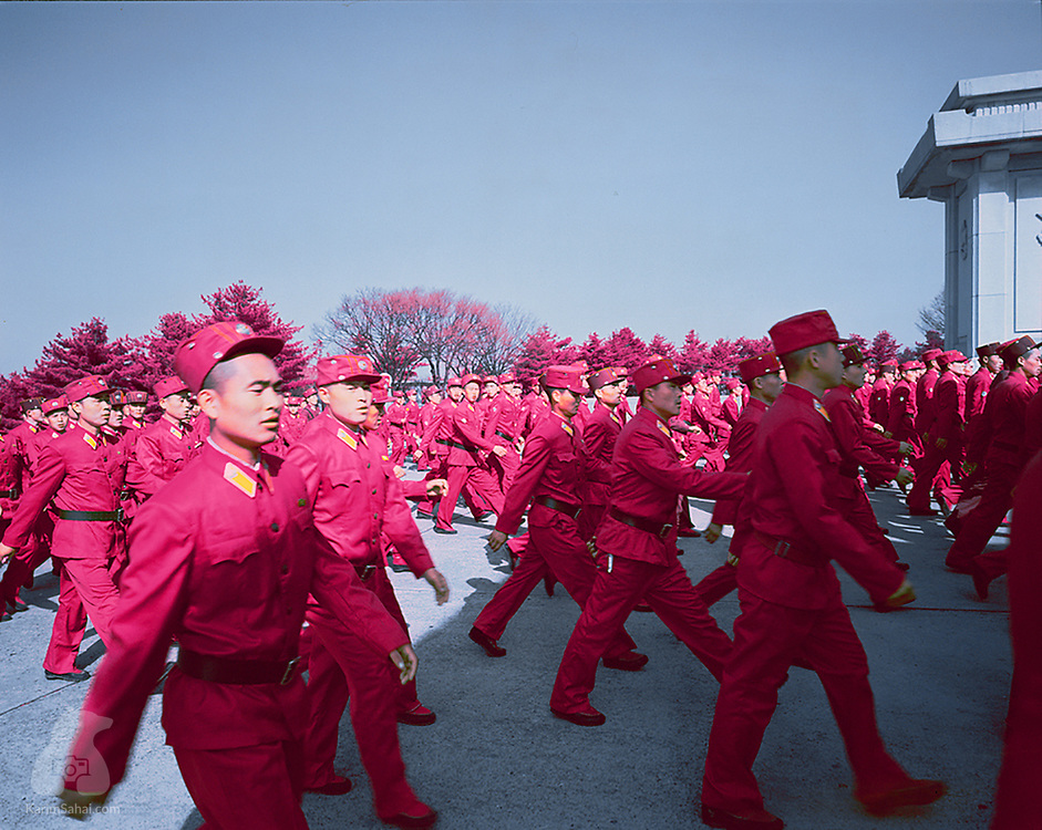 Military personnel gathers on Mount Taesong, close to the North Korean capital, Pyongyang. Besides its growing nuclear arsenal, the massive size of North Korea's military is arguably one of its assets. With 1.2 million active members and almost 8 million reservists, North Korea's army is one of the largest in the world.