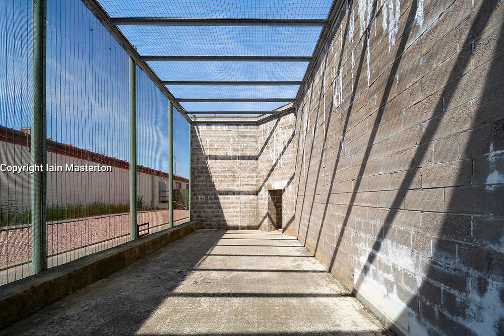 Exterior view of former prisoner exercise yard at Peterhead Prison Museum in Peterhead, Aberdeenshire, Scotland, UK