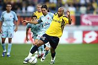 Fotball<br /> UEFA Cup<br /> Foto: Dppi/Digitalsport<br /> NORWAY ONLY<br /> <br /> FOOTBALL - UEFA CUP 2007/2008 - 1ST ROUND - 1ST LEG - FC SOCHAUX v PANIONIOS - 20/09/2007 - STEPHANE DALMAT (SO) / DARIO FERNANDEW (PA)