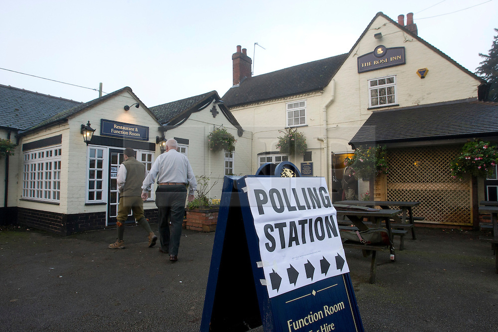 © Licensed to London News Pictures. 15/11/2012. Baxterley, Warwickshire, UK. Opening for the first time as a Polling Station, the Rose Inn pub in Baxterley, North Warwickshire has become one of the more unusual Polling Stations in Warwickshire. The Polling station opened at 7am, the first visitors making their way through the morning fog to cast an early vote. Photo credit : Dave Warren/LNP