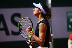 May 23, 2019 - Paris, France - Olga Danilovic of Serbia reacts during her women's singles against Geoggina Garsia Perez of Spain in the second round of the qualifications of Roland Garros, in Paris, France, on 23 May 2019. (Credit Image: © Ibrahim Ezzat/NurPhoto via ZUMA Press)