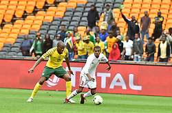 South Africa: Johannesburg: Bafana Bafana player Sandile Hlanti battle for the ball with Seychelles player Jude Nancy during the Africa Cup Of Nations qualifiers at FNB stadium, Gauteng.<br />Picture: Itumeleng English/African News Agency (ANA)