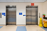 One of the main lifts in Ysbyty Gwynedd was kept purely for Covid patients, all as part of a move to try & stop the spread of the virus from area to area & person to person.<br /> <br /> From my exhibition series for  Betsi Cadwaladr via the Betsi Research Unit.<br /> <br /> My brief was not frontline action as seen on all news outlets, but the way hospitals & staff have adapted to cope with the crisis, from PPE to social distancing & also those vital behind the frontline workers essential throughout the crisis to support frontline NHS staff.<br />  <br /> A small touring exhibition will be open to the public when safer times permit.