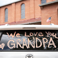 A car decorated for the procession to Sacred Heart Cathedral for the funeral Mass of state Sen. John Pinto,  Thursday, May 30 in Gallup.
