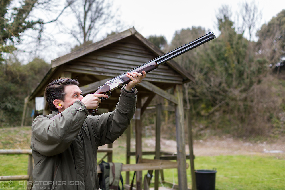 Governors and guests clay pigeon shooting ahead of the 74 Members' Meeting at Goodwood.<br /> Picture date: Friday March 18, 2016.<br /> Photograph by Christopher Ison ©<br /> 07544044177<br /> chris@christopherison.com<br /> www.christopherison.com