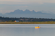 Man pedals a Pedal Kayak on the Nicomekl River near Crescent Beach in Surrey, British Columbia, Canada.  Mount Blanshard (The Golden Ears) and Mount Robbie Reid are the mountains in the background.