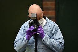 © Licensed to London News Pictures. 17/08/2018. London, UK. Police forensics at a property where Gary Amer (63) was stabbed to death at Laysdown House on Madron Street in Southwark, South London. 67 year old William Treadwell has been charged with his murder. Photo credit: Ben Cawthra/LNP