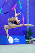 Baldassarri during final of ribbon at World Cup Pesaro 2018.<br /> Milena from Italy is a really young but talented gymnast. She was born in Ravenna on October 16, 2001.