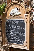 wine shop chalk board domaine de la ronciere chateauneuf du pape rhone france