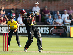 Somerset's Peter Trego helps one over the top for four<br /> <br /> Photographer Simon King/Replay Images<br /> <br /> Vitality Blast T20 - Round 1 - Somerset v Gloucestershire - Friday 6th July 2018 - Cooper Associates County Ground - Taunton<br /> <br /> World Copyright © Replay Images . All rights reserved. info@replayimages.co.uk - http://replayimages.co.uk