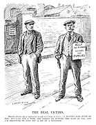 "The Real Victims. Worker (thrown out of employment through the coal strike, to miner). ""I haven't said much so far; but I've got a wife and family to support the same as you, and I'm beginning to find you a bit of a nuisance."" (cartoon showing an industrial worker outside a factory with the notice Works Closing Down as a defiant miner holds the sign Help The Miners Wives And Families during the InterWar era)"