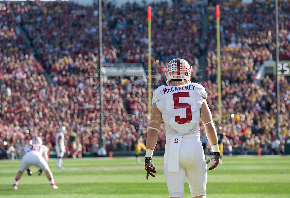 COLLEGE FOOTBALL:  The 102nd Rose Bowl game between Stanford and Iowa played on January 1, 2016 at the Rose Bowl stadium in Pasadena, California. Christian McCaffrey #5.