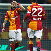 Galatasaray's Wesley Sneijder (L) during their Turkish Superleague soccer match Galatasaray between Orduspor at the AliSamiyen Spor Kompleksi TT arena in Istanbul Turkey on Monday 25 February 2013. Photo by Aykut AKICI/TURKPIX