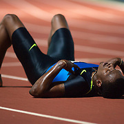 SYDNEY-February 28: Xavier Carter, USA, after finishing second in the Men's 400m event at the Sydney Track Classic 2009 held at Sydney Olympic Park Athletics Centre, Sydney, Australia on February 28, 2009.  Photo by Tim Clayton.