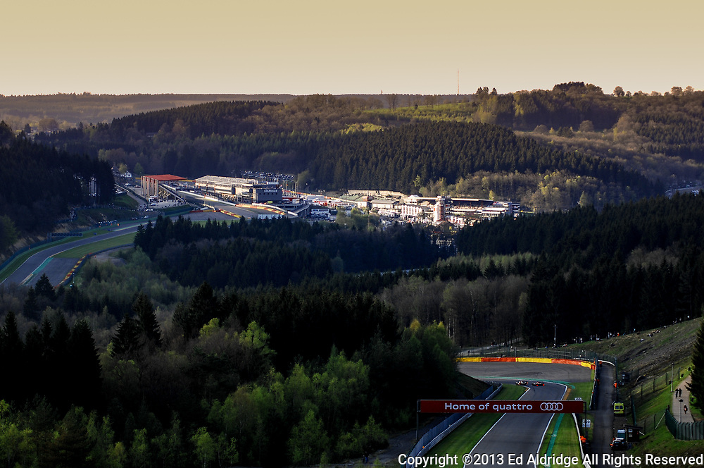 Spa-Francorchamps, Belgium - MAY 4, 2013: Historic circuit runs through the Ardennes forest and provides tremendous views during the FIA World Endurance Championship 6 Hours of Spa-Francorchamps.