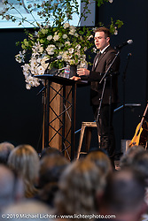 Arlen's youngest grandson Max Ness spoke before the large crowd at the Arlen Ness Memorial - Celebration of Life at the CrossWinds Church, Livermore, CA, USA. Saturday, April 27, 2019. Photography ©2019 Michael Lichter.
