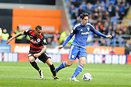 Cardiff City's Peter Whittingham (r) goes past QPR's Tjaronn Chery. Skybet football league championship match, Cardiff city v Queens Park Rangers at the Cardiff city stadium in Cardiff, South Wales on Saturday 16th April 2016.<br /> pic by Carl Robertson, Andrew Orchard sports photography.