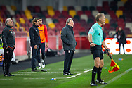 Middlesbrough assistant manager Kevin Blackwell, Brentford manager Thomas Frank, Middlesbrough manager Neil Warnock, assistant referee Michael George George, during the EFL Sky Bet Championship match between Brentford and Middlesbrough at Brentford Community Stadium, Brentford, England on 7 November 2020.