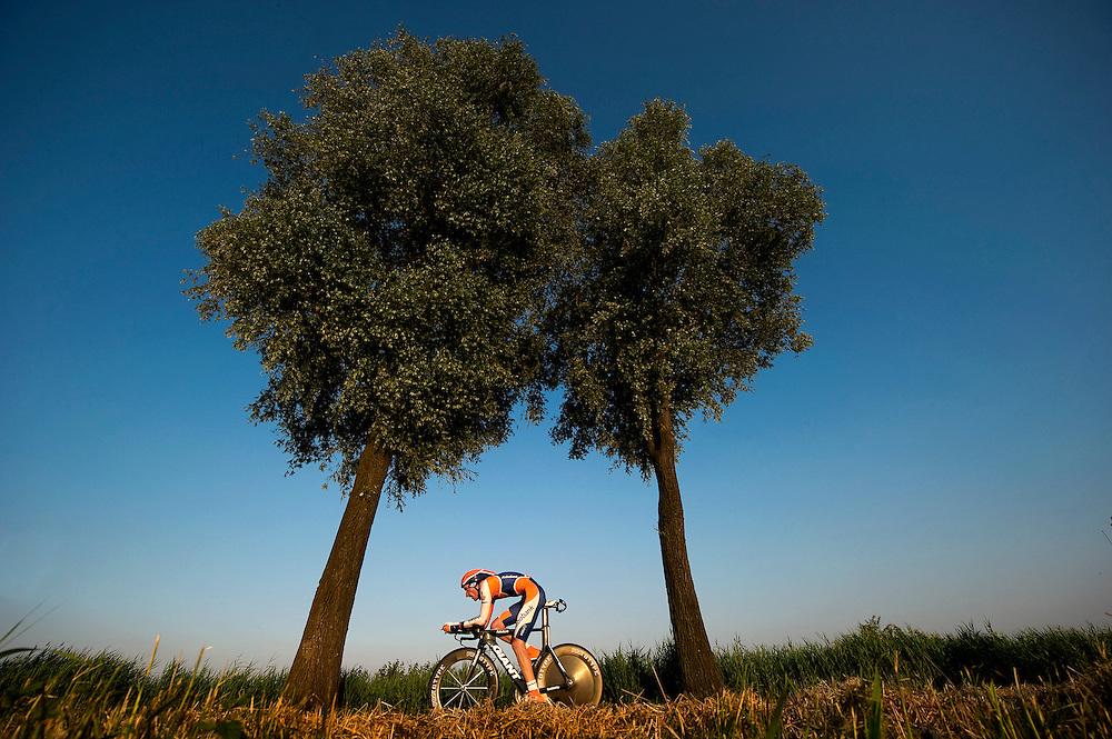 The Netherlands, Oudenbosch, 22-06-2010.<br /> Cycling, Dutch National Championships Time Trial for men.<br /> The winner Jos van Emden of the Rabobank pro cycling team during his race.<br /> Photo: Klaas Jan van der Weij