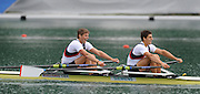 Bled, SLOVENIA,  GBR2 M2X, Bow Bill LUCAS and Sam TOWNSEND, winning their semi final, men's double sculls, on the second day of the FISA World Cup, Bled. Held on Lake Bled.  Saturday  29/05/2010  [Mandatory Credit Peter Spurrier/ Intersport Images] Cop last event as international level.