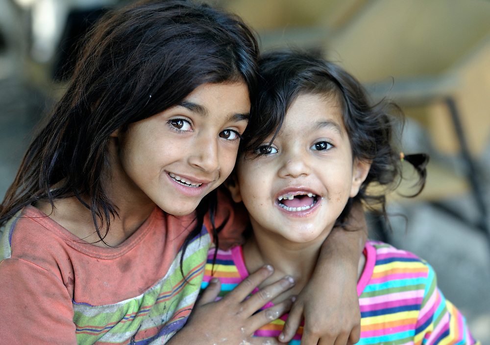Two Roma girls in Suto Orizari, Macedonia. The mostly Roma community, located just outside Skopje, is Europe's largest Roma settlement. .
