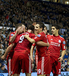 29.10.2011, The Hawthorns, West Bromwich, ENG, PL, West Bromwich Albion vs FC Liverpool, im Bild Liverpool's Andy Carroll celebrates scoring the second goal against West Bromwich Albion with team-mate Luis Alberto Suarez Diaz, Stewart Downing and Charlie Adam during the Premiership match at The Hawthorns // during the Premier League match between West Bromwich Albion vs FC Liverpool, at the Hawthorns, West Bromwich, United Kingdom on 29/10/2011. EXPA Pictures © 2011, PhotoCredit: EXPA/ Propaganda Photo/ Vegard Grott +++++ ATTENTION - OUT OF ENGLAND/GBR+++++