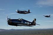 Grumman F6F-5 Hellcat, Douglas AD-4W Skyraidwr and Chance-Vought F4U-7 Corsair.