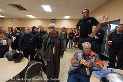 Jason Simms addresses the riders about calling off the ride for the rest of the day due to severe weather during the hosted lunch in Parsons, Kansas hosted by the Chamber of Commerce during the Motorcycle Cannonball Race of the Century. Stage-7 from Springfield, MO to Wichita, KS. USA. Friday September 16, 2016. Photography ©2016 Michael Lichter.