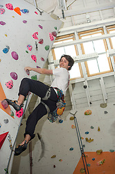 Medical students and volunteers students from the University of Edinburghendured a training session on a climbing wall ahead of their research trip to the Andes which will study the effects of altitude and low-oxygen environments on the human body. Ally Rocke appears at ease with the challenge ahead. Centre for Sport and Excellence, University of Edinburgh24 April 2014 (c) GER HARLEY | StockPix.eu