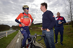 March 30, 2018 - Oudenaarde, Belgique - OUDENAARDE, BELGIUM - MARCH 30 : NIBALI Vincenzo (ITA)  of Bahrain - Merida talking to VERBRUGGHE Rik (BEL) Ass. Sports Director of Bahrain - Merida during a training session prior to the Flanders Classics UCI WorldTour 102nd Ronde van Vlaanderen cycling race with start in Antwerpen and finish in Oudenaarde on March 30, 2018 in Oudenaarde, Belgium, 30/03/2018 (Credit Image: © Panoramic via ZUMA Press)