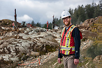 Portraits of staff of On Point Project Engineers, a civil engineering company based in Langford, BC, on location at construction sites.