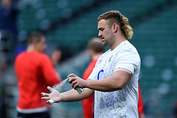 Will Stuart of England sprays his hands during the pre-match warm-up - Mandatory byline: Patrick Khachfe/JMP - 07966 386802 - 14/11/2020 - RUGBY UNION - Twickenham Stadium - London, England - England v Georgia - Autumn Nations Cup