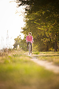 cyclist on the island of Sant'Erasmo, Venice, Italy, Europe