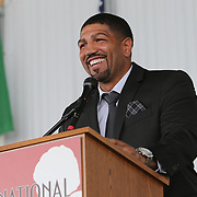 CANASTOTA, NY - JUNE 10:  Inductee Winky Wright speaks during the 2018 induction ceremony at the International Boxing Hall of Fame for the Weekend of Champions event on June 10, 2018 in Canastota, New York. (Photo by Alex Menendez/Getty Images) *** Local Caption *** Winky Wright
