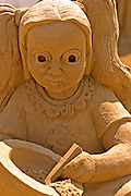 Face of young girl, Sand sculpture festival on the Haifa beach, July 2006