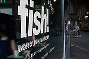 Fish! restaurant at Borough Market in London, England, United Kingdom. Borough Market is a retail food market and farmers market in Southwark. It is one of the largest and oldest food markets in London, with a market on the site dating back to at least the 12th century. A farmers market is a physical retail marketplace intended to sell foods directly by farmers to consumers. Farmers markets may be indoors or outdoors and typically consist of booths, tables or stands where farmers sell fruits, vegetables, meats, cheeses, and sometimes prepared foods and beverages.