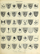 Common Charges Heraldry is a discipline relating to the design, display and study of armorial bearings (known as armory), as well as related disciplines, such as vexillology, together with the study of ceremony, rank and pedigree. Armory, the best-known branch of heraldry, concerns the design and transmission of the heraldic achievement. The achievement, or armorial bearings usually includes a coat of arms on a shield, helmet and crest, together with any accompanying devices, such as supporters, badges, heraldic banners and mottoes. Copperplate engraving From the Encyclopaedia Londinensis or, Universal dictionary of arts, sciences, and literature; Volume IX;  Edited by Wilkes, John. Published in London in 1811