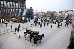 10.03.2016, Stadthalle, Reutlingen, GER, Wahlkampfveranstaltung der AfD, im Bild Polizeipferde vor der Reutlinger Stadthalle // election of the Alternative for Germany (AfD) party at Stadthalle in Reutlingen, Germany on 2016/03/10. EXPA Pictures © 2016, PhotoCredit: EXPA/ Eibner-Pressefoto/ Fudisch<br /> <br /> *****ATTENTION - OUT of GER*****