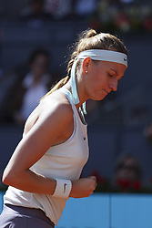 May 6, 2019 - Madrid, Spain - Petra Kvitova of the Czech Republic reacts in her match against Kristina Mladenovic of France during day three of the Mutua Madrid Open at La Caja Magica on May 06, 2019 in Madrid, Spain.(Photo by Oscar Gonzalez/NurPhoto) (Credit Image: © Oscar Gonzalez/NurPhoto via ZUMA Press)