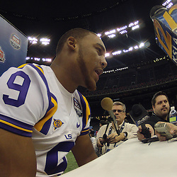 January 6, 2012; New Orleans, LA, USA; LSU Tigers quarterback Jordan Jefferson (9) talks during Media Day for the 2012 BCS National Championship game to be played on January 9, 2012 against the Alabama Crimson Tide at the Mercedes-Benz Superdome.  Mandatory Credit: Derick E. Hingle-US PRESSWIRE