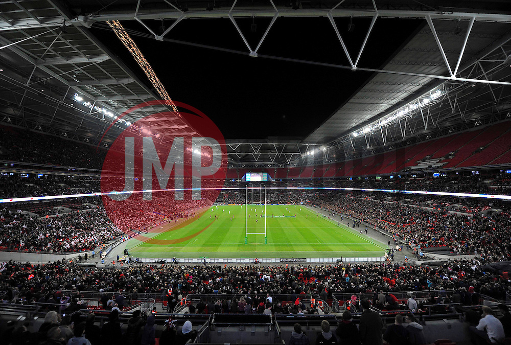 A general view of Wembley Stadium during the first half - Photo mandatory by-line: Patrick Khachfe/JMP - Tel: 07966 386802 - 18/10/2013 - SPORT - RUGBY UNION - Wembley Stadium, London - Saracens v Toulouse - Heineken Cup Round 2.
