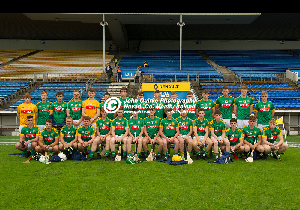 20-07-19. Meath v Kerry Board Gais Energy All-Ireland U20 B HC (Richie McElligott Cup) Semi-Final at Semple Stadium, Thurles.<br /> The Meath panel which lost to Kerry L to R.<br /> Back: Eoin Griffin, Daire Finley, Jamie Leavy, Killian Swaine, Aaron Dunne, Sean Coffey, Cormac Butler, Simon Ennis, Conor Quigley, Paddy Coyne, Peter O'Doherty, Vincent Ward, Daithi McGowan, Pierce Butler, Brin Kelly.<br /> Front: Evan Fitzgerald, Sean Martin, Brian Dowling, Brian O'Reilly, John Mitchell, Michael Mullen, Jacob Ryan, Callum O'Sullivan, Mark Hatton, Conor Cribben-Hayes, Daire Gilmartin, Nicky Potterton, Jack Bannon, Ian Bermingham and Kevin Coffey.<br /> Photo: John Quirke / www.quirke.ie<br /> ©John Quirke Photography, Unit 17, Blackcastle Shopping Cte. Navan. Co. Meath. 046-9079044 / 087-2579454.