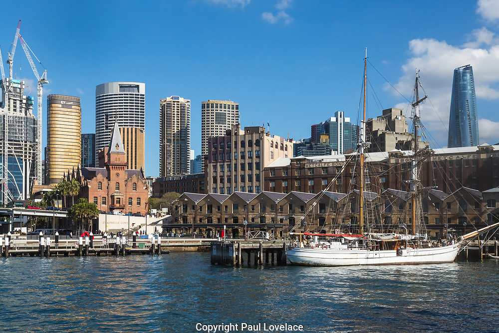 Sydney, Australia. Saturday 23rd May 2021. Views of Campbells Cove showing pre- federation heritage -listed buildings and warehouses in contrast to the modern city skyline.