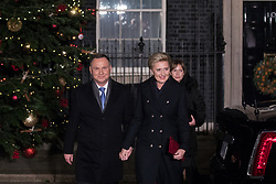 London, UK. 3 December, 2019. Andrzej Duda, President of Poland, leaves with his wife Agata Kornhauser-Duda following a reception for NATO leaders at 10 Downing Street on the eve of the military alliance's 70th anniversary summit at a luxury hotel near Watford.
