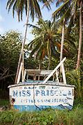 Abandoned boat on Little Corn Island in Nicaragua