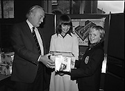 1980-03-07.7th March 1980.07/03/1980.03-07-80..Photographed at Maguire & Paterson, Dublin..Match of the Day:..From Left:..Alan Buttanshaw, Managing Director of Maguire & Paterson..Ruth Buchanan, presenter of RTE's Poparama..Nigel Dunne (13), Sharavogue, Rosses Point, Sligo, winner of 1st Prize (£50).