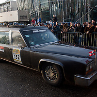 Competitors in a makeshift funeral car participate the start of Budapest-Bamako Rally charity race also called as the Wacky Race to Africa that starts in Budapest, Hungary on January 15, 2011. ATTILA VOLGYI