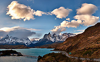 Sky, Clouds, and Mountains in Torres del Paine National Park. Composite of seven images taken with a Fuji X-T1 camera and 23 mm f/1.4 lens.